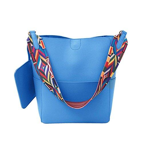 Jaminy Damen Handtasche Mode Eimer Tasche Schultertasche Umhängetasche Shoppe Tote Einfach Mode Eimer Tasche tragbar Schultertasche Umhängetaschen Beutel (Blau) (Nieten-handtasche Blaue)