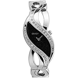 Seksy By Sekonda Ladies' Quartz Watch with Black Dial Analogue Display and Silver Stainless Steel Bracelet 4276.37