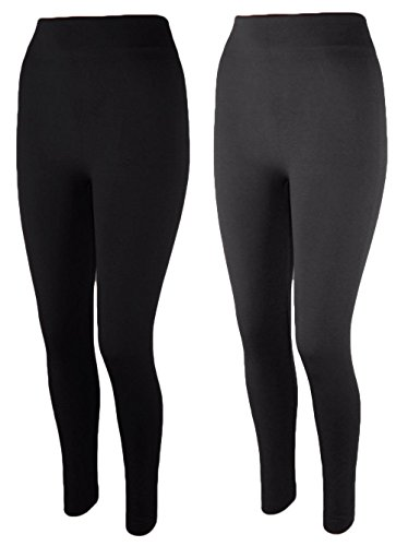 2x Damen Thermo Leggings Fleece gefüttert Leggins 3XL 4XL t05 (schwarz/grau)