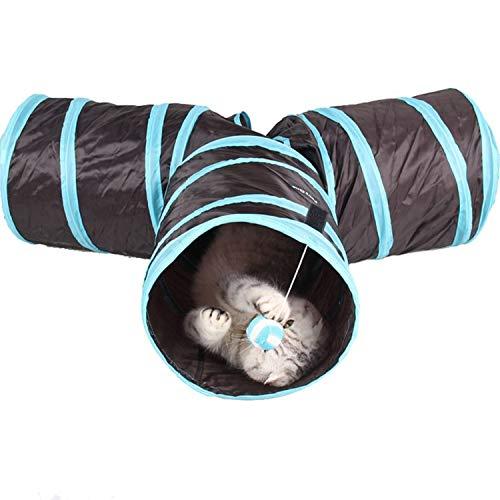 Fit 3 Verstecktes Gummiband (Katzen Hunden Spielzeug, Chenci Katzenspielzeug Hundenspielzeug Haustier Kleintier Spiel Tunnel Katzentunnel Faltbarer 3-Wege-Spieltunnel für Hasen, Katzen, Hunde und Kleintiere)