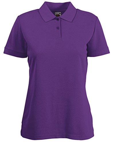 Fruite of the Loom Damen Lady-Fit 65/35 Pique Polo Shirt, vers.Farben Violett