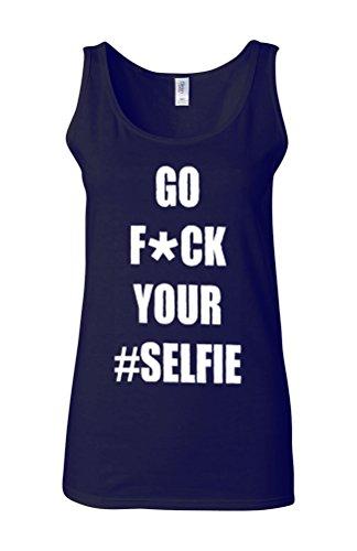 Go Fu*k Your Selfie Celfie Novelty White Femme Women Tricot de Corps Tank Top Vest Bleu Foncé