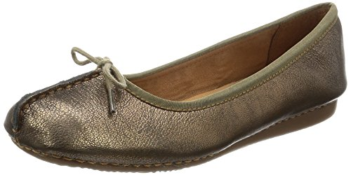 Clarks Damen Freckle Ice Geschlossene Ballerinas, Grau (Bronze Leather), 39 EU