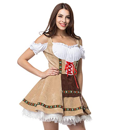 HHyyq Kurzarm Kellnerin Cosplay Kostüm Kleid Retro Bayerisches Bierfest Cosplay Kostüme Sexy Dessous Bow Rock Funny Robe Outfits Elegant Halloween Cosplay Große Maid Dress Maidservant Bier - Sexy Indian Girl Kostüm