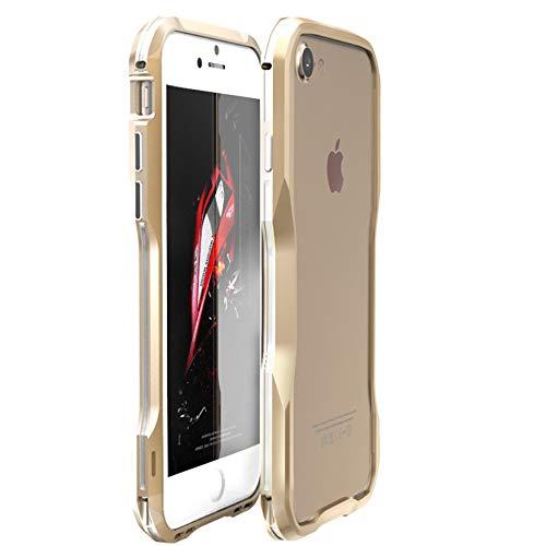 qichenlu [Antirutsche Form Gold&Silber iPhone 8 / iPhone 7 Zweifarbig Robust Metall Rahmen,iPhone 8 / iPhone 7 Hülle,Extrem Stoßfest Aluminium Bumper Handy Schutz Gehäuse für iPhone 8 / iPhone 7 -