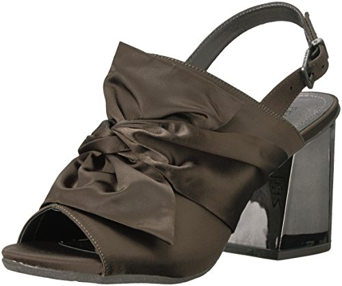 Kenneth Cole REACTION Damen Reach Beyond, offener Zehenbereich, Elegante Sandale, mit Schleifen-Detail, ausgestellter Absatz, Satin, farngrün, 39 EU Kenneth Cole Satin Pumps
