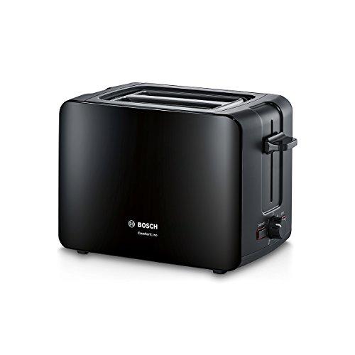 Bosch tat6a113compacta de tostadora Comfort Line, automática de la rebanada, función de descongelación, 1090W, Negro