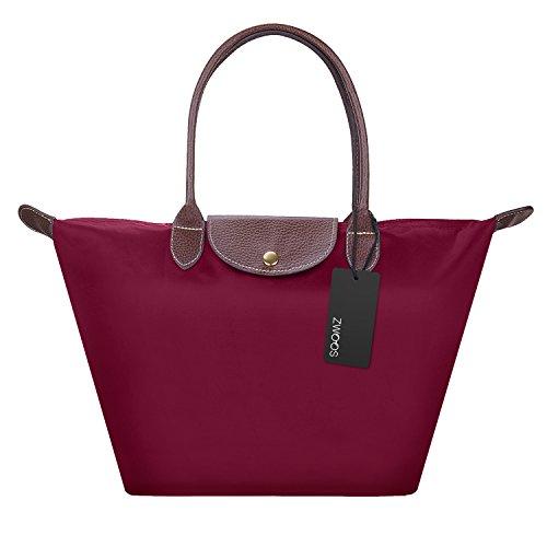 Nylon Damen Shopping Shopper Tasche – ZWOOS Frauen Stilvolle Wasserdichtes Handtasche Schultertasche Umhaengetasche Strand Tasche Schwarz (M, Rouge) (Leder Große Rosa)