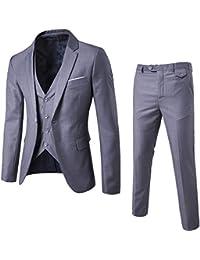 MISSMAOM Traje de 3 Piezas con Chaqueta - Chaleco y Pantalones - Hombre - Cuadros Ajuste Moderno