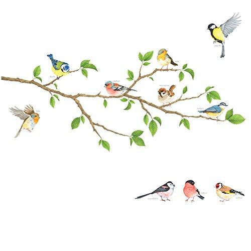 DECOWALL DA-1804 Aves de Jardín en la Rama Árbol Vinilo Pegatinas Decorativas...