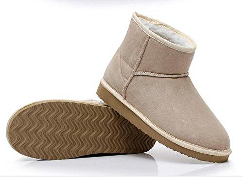Minetom Damen Classic Schuhe Stiefeletten Winter Fur Boots Winterstiefel Warm Casual Flats Bequeme Mode Boots Beige