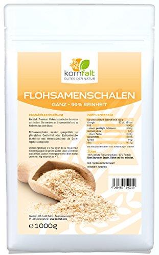 KORNFALT Flohsamenschalen GANZ - Premium -99% Reinheit - in Deutschland geprüfte Qualität (1 x 1 kg)