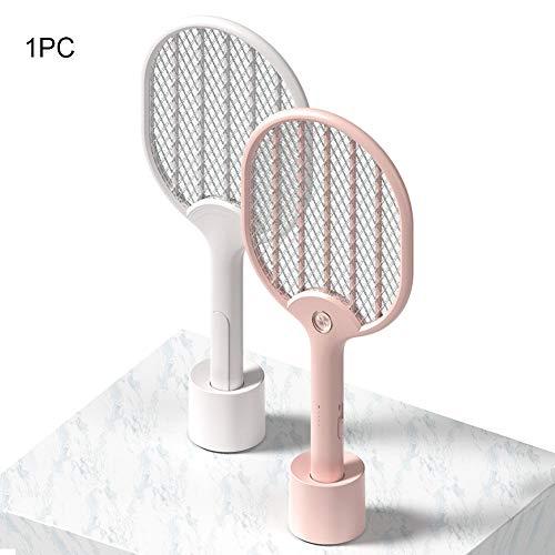 GNDJA Zapper 3-Lagen-Netz tragbarer USB-Ladeverteiler Home Electric Flying Insect Killer mit LED-Lampe Moskito-Klatsch-Schläger, Pink - Flying Insect Killer