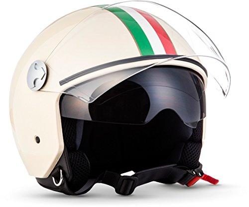 "Armor · AV-63 ""Italy Creme"" (yellow) · Casco moto Demi Jet · Urbano Urban motocicleta Retro Helmet Scooter · ECE certificado · Separate Visors · Click-n-SecureTM Clip · L (59-60cm)"