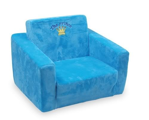 """Plushing Armchair """"Prince"""" Small Foot Wonderfully soft chairs made of covered foam invite little royal children to take a seat for a while in style! The seat and back rest can be folded out to form a little resting zone (approx. 100 cm) for travels to day dream worlds Height of seat 15 cm. 1"""