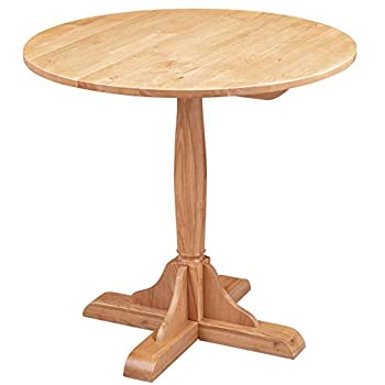 Hallowood Waverly Small Round Bistro Dining Table in Light Oak Finish | Solid Wooden Kitchen Dinner, WAV-RTAB800