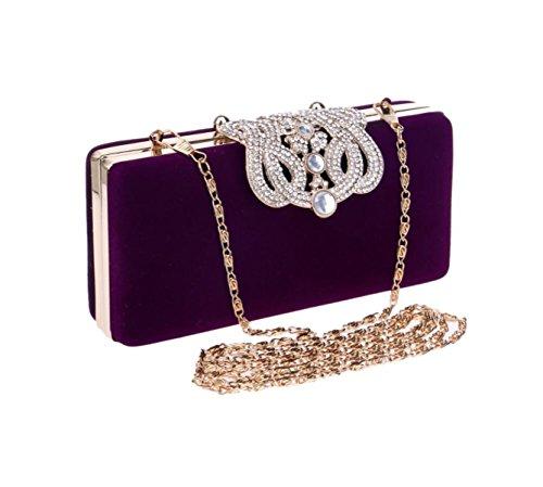 GSHGA Womens Clutch Bags Luxuriöse Diamanten Samt Crown Abendtasche Evening HandBag,Red Purple
