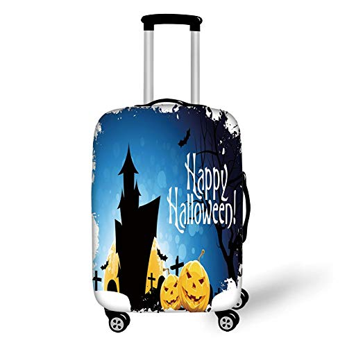 Suitcase Protector,Halloween,Gothic Ancient Castle Moon Cruciform Graveyard Tree Silhouette Abstract,Blue Black Yellow,for Travel,L ()