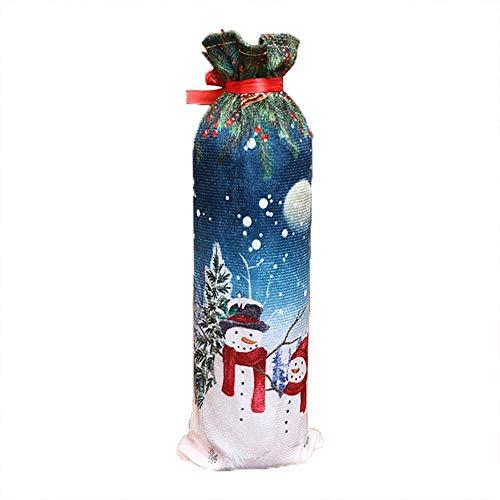 (Mitlfuny Weihnachtsset Weinflaschenabdeckung, Pullover Weihnachten Weihnachtsmann Weinflasche Cover Home Party Dekoration Geburtstagsgeschenk Tischdeko)