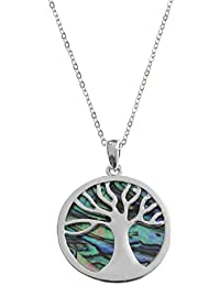 BellaMira Sterling Silver Abalone Mother of Pearl Red Coral TREE OF LIFE Necklace Earrings Jewellery Set (as chosen) Gift Boxed