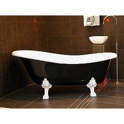 Casa Padrino Freistehende Luxus Badewanne Jugendstil Roma Schwarz/Weiß/Weiß 1470mm - Barock Antik Badezimmer