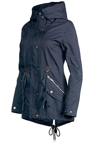 Trisens Damen Jacke ÜBERGANGSJACKE Trenchcoat Kapuze 100% Baumwolle LEICHT KURZ, Farbe:Dunkelblau, Größe:S - 2