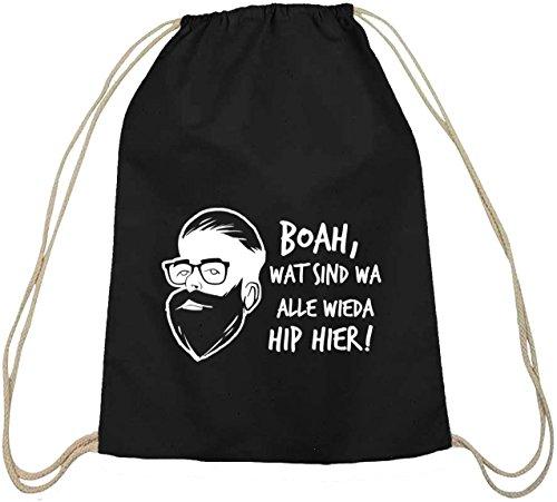 Boah, wat sind wa alle wieda hip hier! Baumwoll natur Turnbeutel Rucksack Sport Beutel schwarz natur