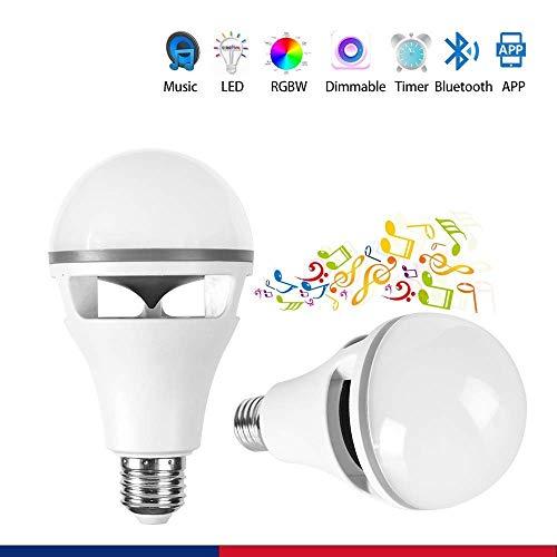Bluetooth-Lautsprecher Smart Blub, BR30 10W E26, LED-Birne für die Zeiteinstellung, Dimmable Sleeping Night Light 1 von vielen für Bar, Party (2-er Pack) Valentinstag Geschenk - 2er Pack Glühbirne A19