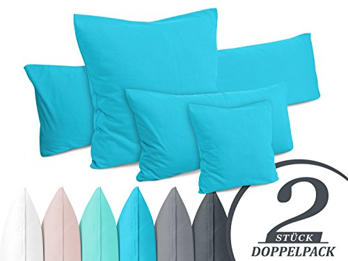 Doppelpack - Kissenbezüge aus Jersey-Baumwolle - moderne Kissenhüllen in unifarbenem Design - in 6 modernen Farben und 4 Größen, ca. 40 x 40 cm, türkis