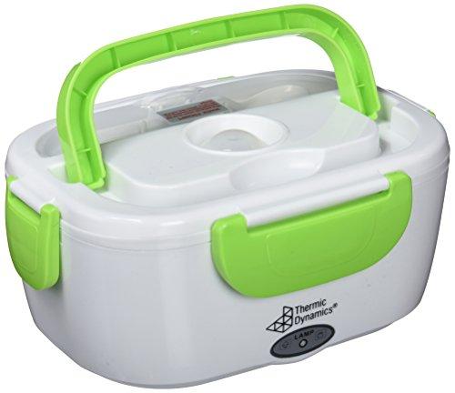 Thermic Dynamics Lunchbox Fiambrera Eléctrica para Coches, Blanco/Verde, 23 x 10,5 x 16,5 cm