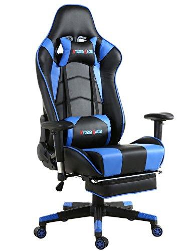Gaming Silla de Oficina Diseño Ergonomico Mecanismo de Inclinación Cojin Lumbar y Almohada Cuero Sintético Ajuste reposacabezas y Apoyo Lumbar Silla de Racing (Azul)