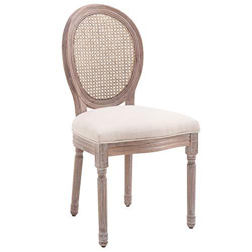 HOMCOM Esszimmerstuhl Küchenstuhl Polsterstuhl Lehnstuhl Rattanstuhl Vintage Retro beige 50 x 54,5 x 97 cm - Schlafzimmer Stoff Stuhl