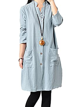 Mujer Mangas Largas Algodón de Lino Full Front Button Shirt Dress con Bolsillos