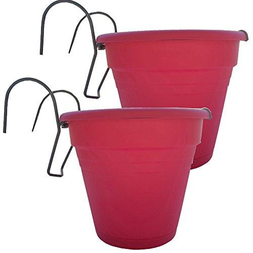 K7plus 2er Set Hängetopf Blumentopf Kräutertopf aus Kunststoff für Balkon, Zaun und Garten (Fuchsia)