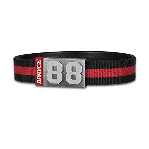 BRAYCE® Trikot am Handgelenk® mit Deiner Trikot Nummer 00-99 I Armband schwarz & rot I Sportarmband/Teamarmband personalisierbar & handgemacht