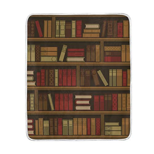 Ahomy Überwurf Decken, Bibliothek Buch Regal Super Soft Decke, 127x 152cm, Maschinenwaschbar, geeignet für Bett Stuhl oder Sofa