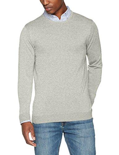 SELECTED HOMME Herren Pullover Shdtower Cot/Silk Corps Neck Noos, Grau (Light Grey Melange), Large