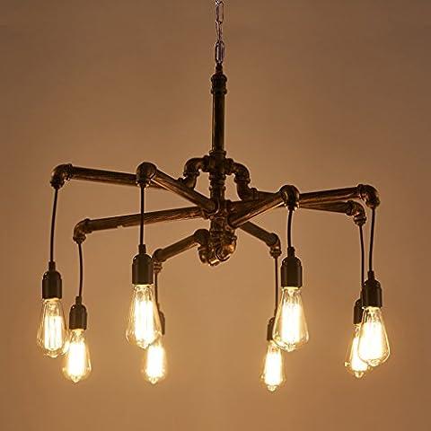 Cgjdzmd Decke Pendelleuchten Edison Retro Loft Style Vintage Industrial Pendelleuchte Deckenleuchten Beleuchtung Leuchten Kronleuchter Lampen Metall Wasserrohrleuchte AC 110 - 240V [Energieklasse A +]