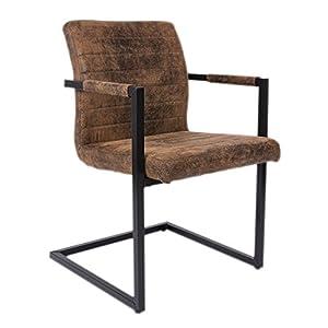 SAM® Esszimmerstuhl Parzivo mit Armlehnen, Stuhl mit Stoffbezug, hoher Komfort, geschwungenes Design, Schwingstuhl mit Fuß aus Eisen, strapazierfähig und pflegeleicht