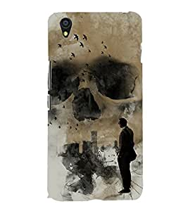 Grey Skull 3D Hard Polycarbonate Designer Back Case Cover for OnePlus X :: One Plus X :: One+X