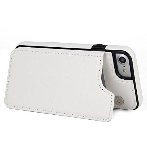 iPhone 7Caso, Lifeepro Resistente ai Graffi Protettivi Bumper ID Carte di Credito Slot Pelle PU Wallet Case Flip Stand Function con Cassa e Fibbia Staccabili (Hot Pink) bianca