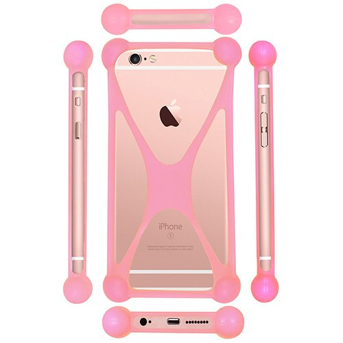 Casotec Universal Silicone Bumper Frame Soft Gel Phone Case Cover for Micromax A300 Canvas Gold - Baby Pink