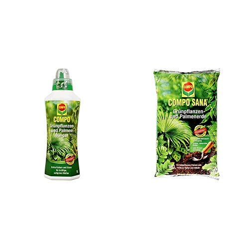 COMPO Grünpflanzen- und Palmendünger, 1 Liter & SANA Grünpflanzen- und Palmenerde mit 8 Wochen Dünger für alle Zimmer- und Balkonpflanzen sowie Palmen und Farne, 10 Liter