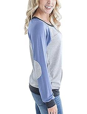 Le Donne Colorblock Mosaico Tasca Scollato Camicetta A Maniche Lunghe T - Shirt.