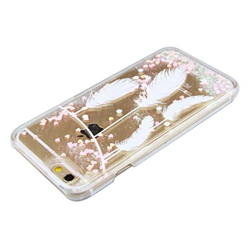 Crystal Hard Case Hülle für iPhone 6S Plus,iPhone 6 Plus Case Cover Glitzer,iPhone 6S Plus Hülle,EMAXELERS Kreativ Fliegen Zwei Federn Muster Liquid Fließen Flüssig Schwimmend Stern Hülle Tasche Handy A Pink Heart 10