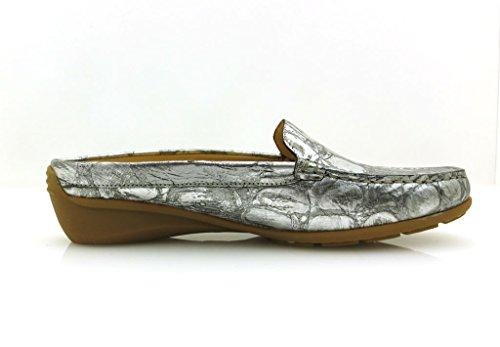 Mephisto Nedina Mule En Cuir Mule Chaussures En Cuir Sabots Argent