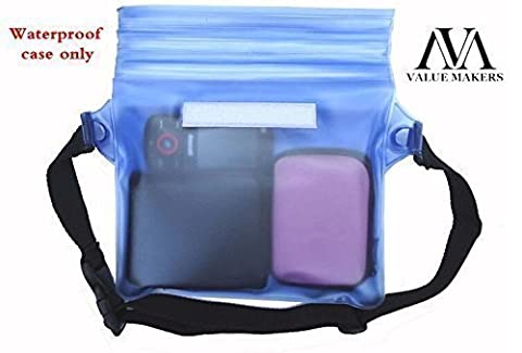VALUE MAKERS Waterproof Pouch with Waist Strap for Beach/fishing/hiking - Waterproof Bag - Waterproof Diving Bag - Water Dry Case for Phones, Camera, Cash, Documents From Water, Sand, Dust and Dirt