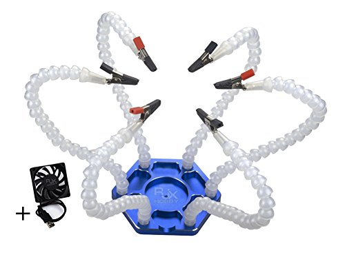 Asenart ® Lötstation Werkzeug mit 6er flexiblen Metallarmen Soldeing WorkBench Drittes Lötsystem mit Aluminiumbasis zum Löten, Montieren, Reparieren, Modellieren, Hobby, Handwerk
