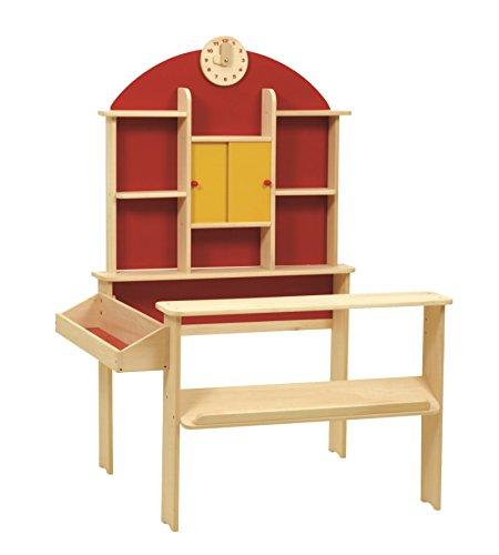 *roba Kaufladen, Kinder Kaufmannsladen, Holz natur, Verkaufsstand mit Theke, Uhr, roter Rückwand & gelben Schiebetüren*