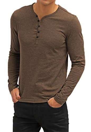 AIYINO Herren Casual T-Shirt mit V-Ausschnitt Kontrast 100% Baumwolle Cardigan (XX-Large, Langarm-Braun)